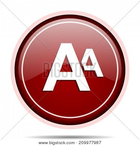 Alphabet red glossy round web icon. Circle isolated internet button for webdesign and smartphone applications.