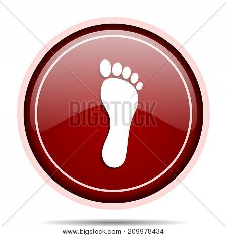 Foot red glossy round web icon. Circle isolated internet button for webdesign and smartphone applications.