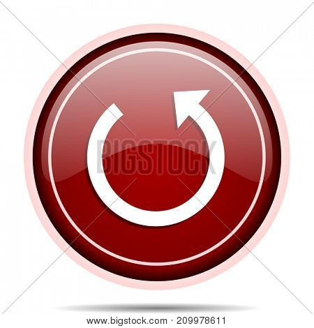 Rotate red glossy round web icon. Circle isolated internet button for webdesign and smartphone applications.