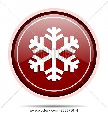 Snow red glossy round web icon. Circle isolated internet button for webdesign and smartphone applications.