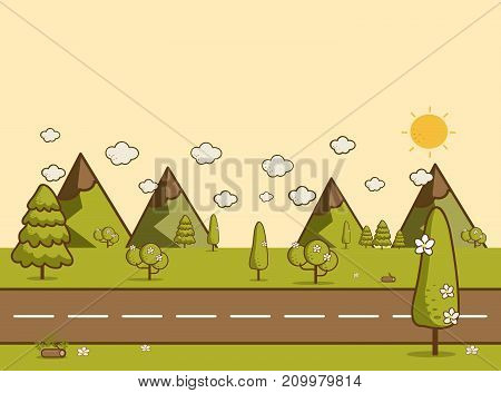 Road in green valley mountains hills clouds and sun on the sky. Flat style illustration of spring or summer nature.Landscape background Vector illustration