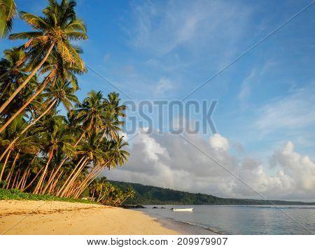 Sandy Beach In Lavena Village On Taveuni Island, Fiji