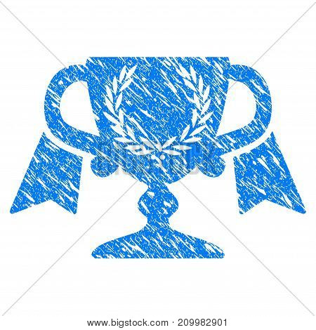 Grunge Achievement Award Cup icon with scratched design and dust texture. Unclean vector blue Achievement Award Cup pictogram for rubber seal stamp imitations and watermarks. Draft emblem symbol.