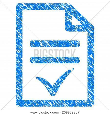 Grunge Agreement Document icon with scratched design and scratched texture. Unclean vector blue Agreement Document pictogram for rubber seal stamp imitations and watermarks. Draft emblem symbol.