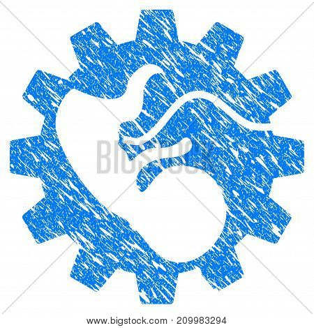 Grunge Artificial Child icon with scratched design and unclean texture. Unclean vector blue Artificial Child pictogram for rubber seal stamp imitations and watermarks. Draft emblem symbol.
