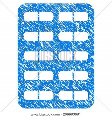 Grunge Blister icon with scratched design and grungy texture. Unclean vector blue Blister pictogram for rubber seal stamp imitations and watermarks. Draft sticker symbol.