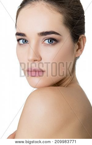 Beautiful Young Woman Touching Her Face With Palms. Beauty Female Portrait. Antiaging, Skincare, Beauty Treatment. Healthcare Concept.