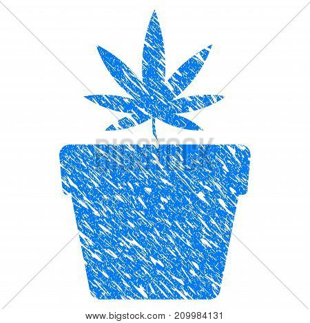 Grunge Cannabis Pot icon with scratched design and unclean texture. Unclean vector blue Cannabis Pot pictogram for rubber seal stamp imitations and watermarks. Draft sticker symbol.