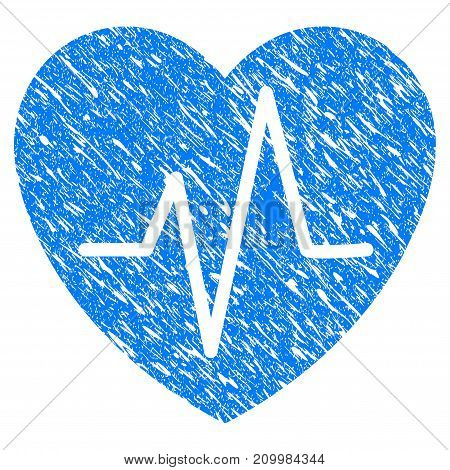 Grunge Cardiology Heart Pulse icon with scratched design and dust texture. Unclean vector blue Cardiology Heart Pulse pictogram for rubber seal stamp imitations and watermarks. Draft sticker symbol.