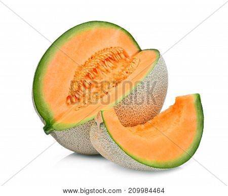 slice of japanese melons orange melon or cantaloupe melon with seeds isolated on white background