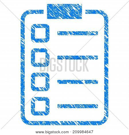 Grunge Checklist Pad icon with scratched design and unclean texture. Unclean vector blue Checklist Pad pictogram for rubber seal stamp imitations and watermarks. Draft sign symbol.