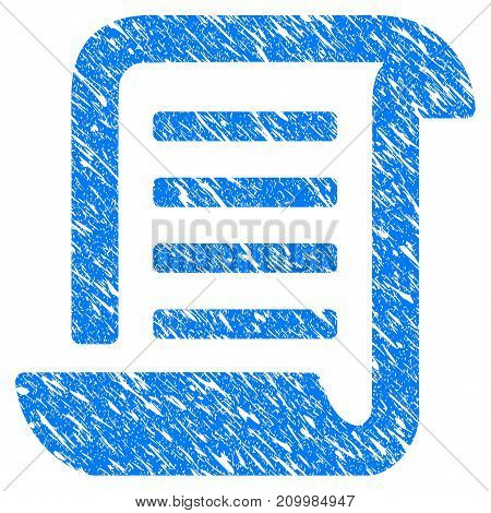Grunge Conclusion Roll Document icon with scratched design and dust texture. Unclean vector blue Conclusion Roll Document pictogram for rubber seal stamp imitations and watermarks. Draft sign symbol.