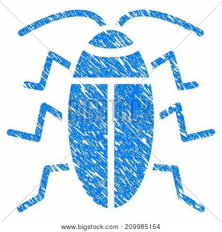 Grunge Cucaracha icon with scratched design and dirty texture. Unclean vector blue Cucaracha pictogram for rubber seal stamp imitations and watermarks. Draft sign symbol.