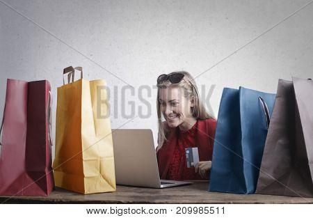 Girl doing shopping online