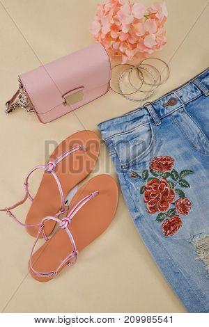 Embroidered flowers jeans, shoes, handbag bracelet, , pink hydrangea - beige background