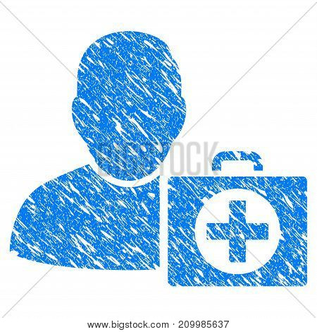 Grunge Doctor icon with scratched design and unclean texture. Unclean vector blue Doctor pictogram for rubber seal stamp imitations and watermarks. Draft sign symbol.