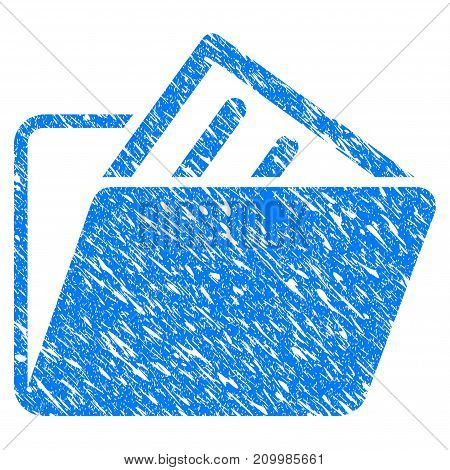 Grunge Document Folder icon with scratched design and dust texture. Unclean vector blue Document Folder pictogram for rubber seal stamp imitations and watermarks. Draft emblem symbol.