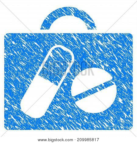 Grunge Drugs Case icon with scratched design and dirty texture. Unclean vector blue Drugs Case pictogram for rubber seal stamp imitations and watermarks. Draft sticker symbol.