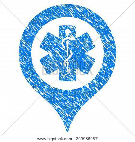 Grunge Emergency Map Marker icon with scratched design and unclean texture. Unclean vector blue Emergency Map Marker pictogram for rubber seal stamp imitations and watermarks. Draft sign symbol.