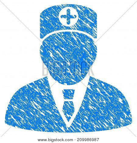 Grunge Head Physician icon with scratched design and dust texture. Unclean vector blue Head Physician pictogram for rubber seal stamp imitations and watermarks. Draft sign symbol.