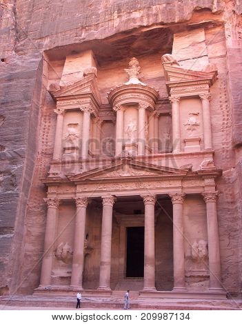 The Treasury Al-Khazneh temple in the ancient Arab Nabatean Kingdom city of Petra Jordan