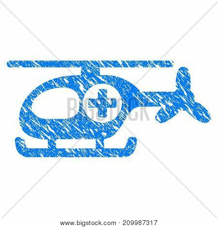 Grunge Helicopter icon with scratched design and dirty texture. Unclean vector blue Helicopter pictogram for rubber seal stamp imitations and watermarks. Draft sticker symbol.
