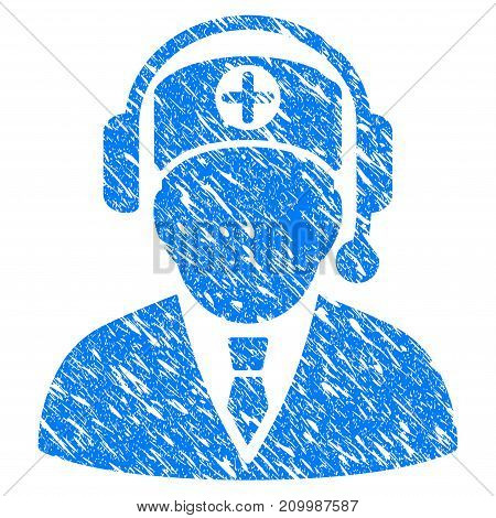 Grunge Hospital Operator icon with scratched design and grungy texture. Unclean vector blue Hospital Operator pictogram for rubber seal stamp imitations and watermarks. Draft sticker symbol.
