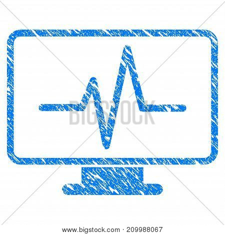 Grunge Line Chart Monitoring icon with scratched design and dust texture. Unclean vector blue Line Chart Monitoring pictogram for rubber seal stamp imitations and watermarks. Draft emblem symbol.