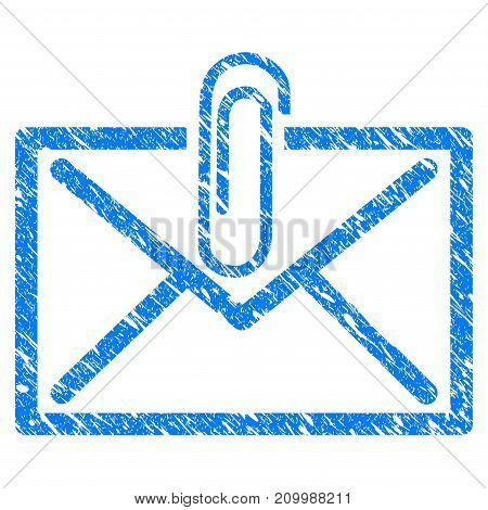 Grunge Mail Attachment icon with scratched design and grungy texture. Unclean vector blue Mail Attachment pictogram for rubber seal stamp imitations and watermarks. Draft sign symbol.