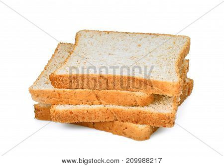 whole wheat bread slice isolated on white background