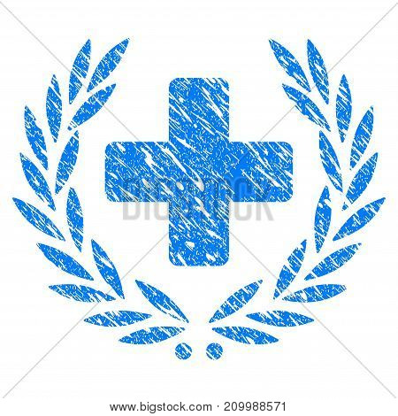 Grunge Medical Award Wreath icon with scratched design and grungy texture. Unclean vector blue Medical Award Wreath pictogram for rubber seal stamp imitations and watermarks. Draft emblem symbol.