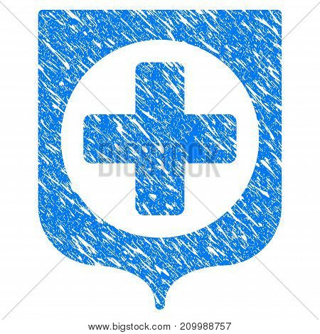 Grunge Medical Cross Shield icon with scratched design and unclean texture. Unclean vector blue Medical Cross Shield pictogram for rubber seal stamp imitations and watermarks. Draft sticker symbol.
