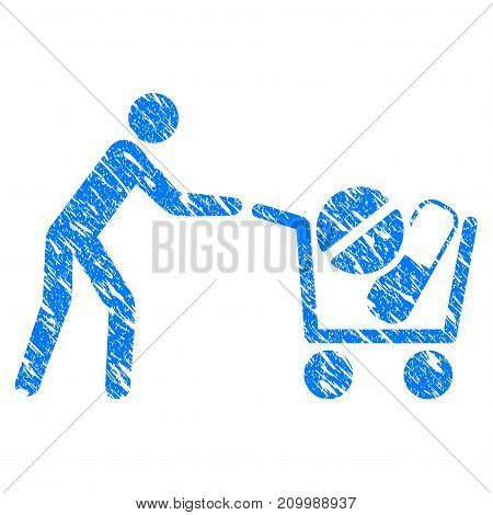 Grunge Medical Drugs Buyer Cart icon with scratched design and dirty texture. Unclean vector blue Medical Drugs Buyer Cart pictogram for rubber seal stamp imitations and watermarks.