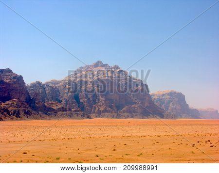 Landscape of Wadi Rum valley of the Moon desert in Jordan