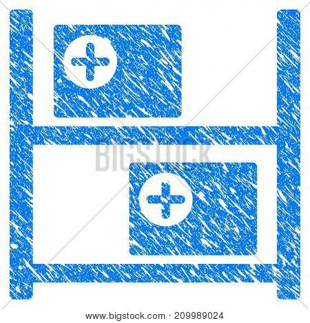 Grunge Medical Goods Shelves icon with scratched design and dirty texture. Unclean vector blue Medical Goods Shelves pictogram for rubber seal stamp imitations and watermarks. Draft emblem symbol.