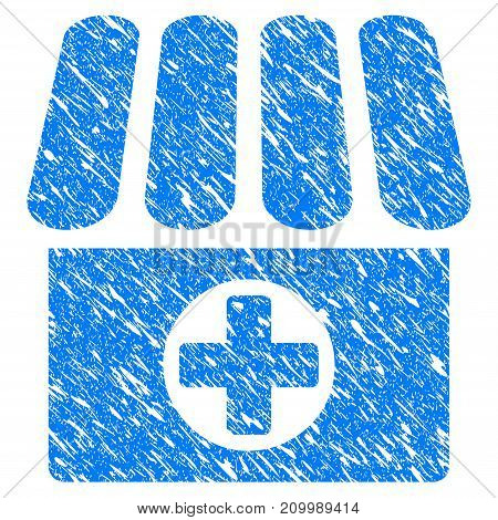 Grunge Medical Shop icon with scratched design and grungy texture. Unclean vector blue Medical Shop pictogram for rubber seal stamp imitations and watermarks. Draft sign symbol.