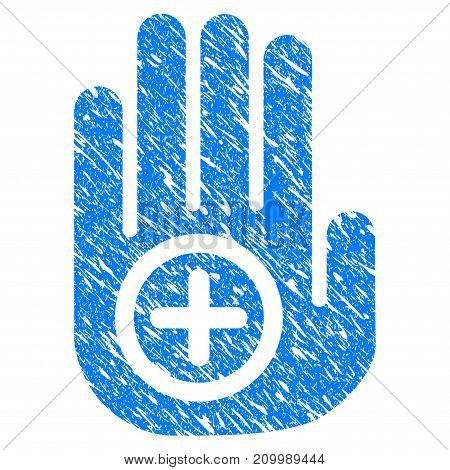 Grunge Medical Target Palm icon with scratched design and grungy texture. Unclean vector blue Medical Target Palm pictogram for rubber seal stamp imitations and watermarks. Draft emblem symbol.