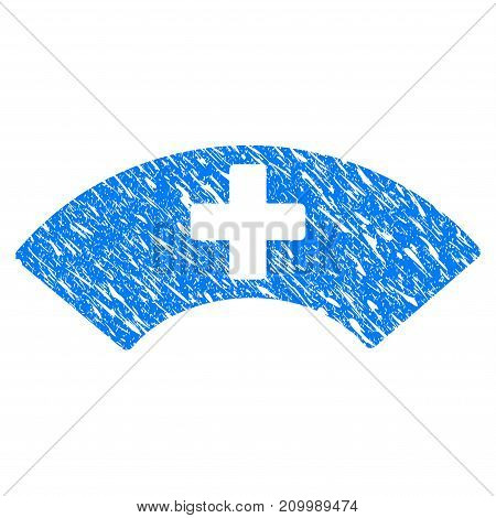 Grunge Medical Visor icon with scratched design and dirty texture. Unclean vector blue Medical Visor pictogram for rubber seal stamp imitations and watermarks. Draft emblem symbol.