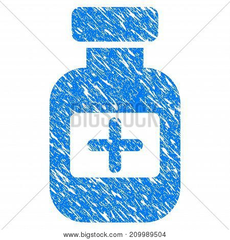 Grunge Medication Phial icon with scratched design and dust texture. Unclean vector blue Medication Phial pictogram for rubber seal stamp imitations and watermarks. Draft sticker symbol.