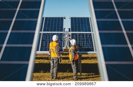 solar power station green electricity panel view