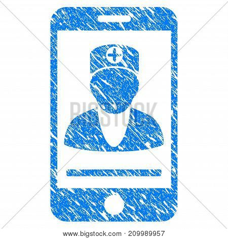Grunge Mobile Doctor icon with scratched design and dirty texture. Unclean vector blue Mobile Doctor pictogram for rubber seal stamp imitations and watermarks. Draft emblem symbol.