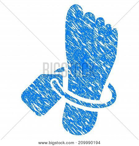 Grunge Morgue Tagged Foot icon with scratched design and scratched texture. Unclean vector blue Morgue Tagged Foot pictogram for rubber seal stamp imitations and watermarks. Draft sign symbol.