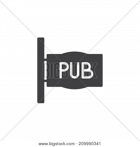 Pub sign icon vector, filled flat sign, solid pictogram isolated on white. Symbol, logo illustration.