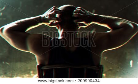 Rear view of african descent man gesturing with panic