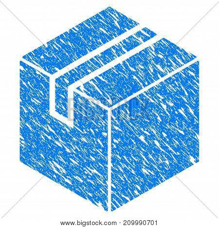Grunge Package icon with scratched design and dirty texture. Unclean vector blue Package pictogram for rubber seal stamp imitations and watermarks. Draft emblem symbol.