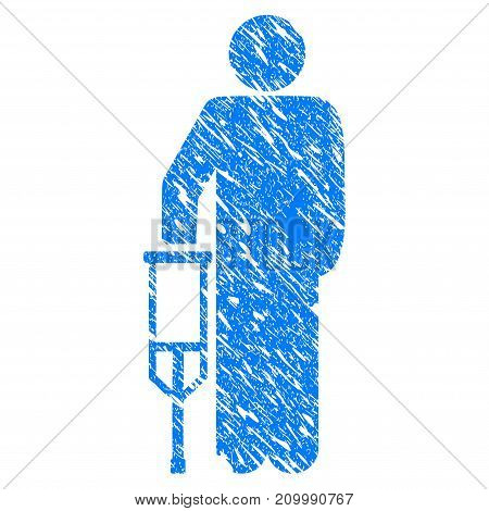 Grunge Patient Crutch icon with scratched design and dust texture. Unclean vector blue Patient Crutch pictogram for rubber seal stamp imitations and watermarks. Draft emblem symbol.