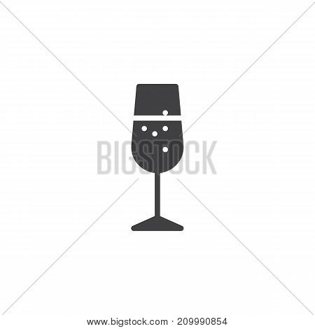 Champagne glass icon vector, filled flat sign, solid pictogram isolated on white. Symbol, logo illustration.
