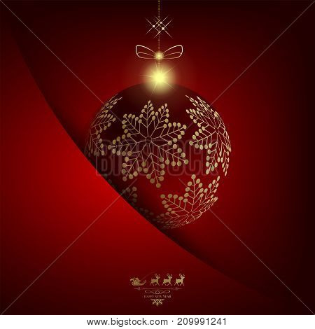 Christmas red background with a ball with golden snowflakes and a pocket