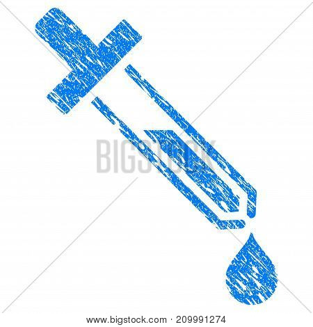 Grunge Pipette icon with scratched design and dust texture. Unclean vector blue Pipette pictogram for rubber seal stamp imitations and watermarks. Draft emblem symbol.
