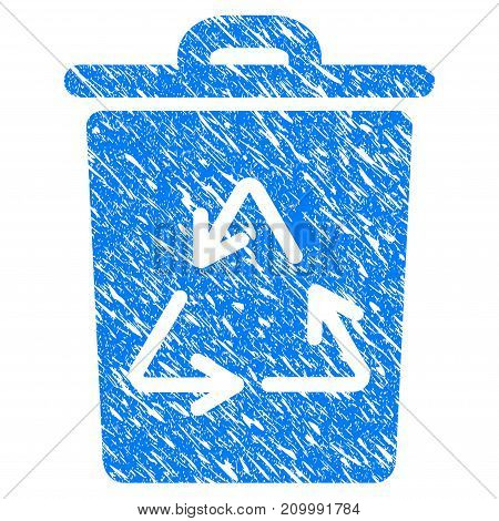 Grunge Recycling Bin icon with scratched design and unclean texture. Unclean vector blue Recycling Bin pictogram for rubber seal stamp imitations and watermarks. Draft sign symbol.